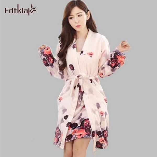Noite bonito vestido + robe das mulheres duas peças set casa desgaste vestidos de flanela roupões de inverno quente para as mulheres vestes sleepwear Q765