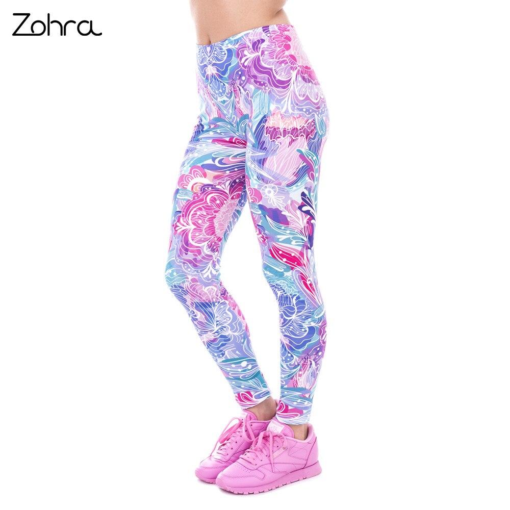 Zohra Spring Fashion Women Legins Exotic Purple Flowers Printing Legging Elegant Cozy High Waist Woman Leggings