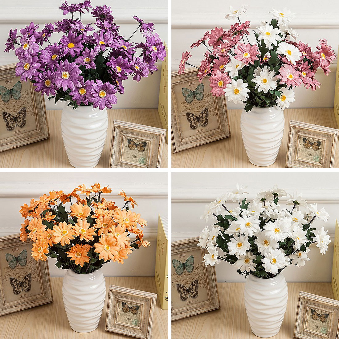 Buy 7 heads silk flower daisies flower for International home decor stores