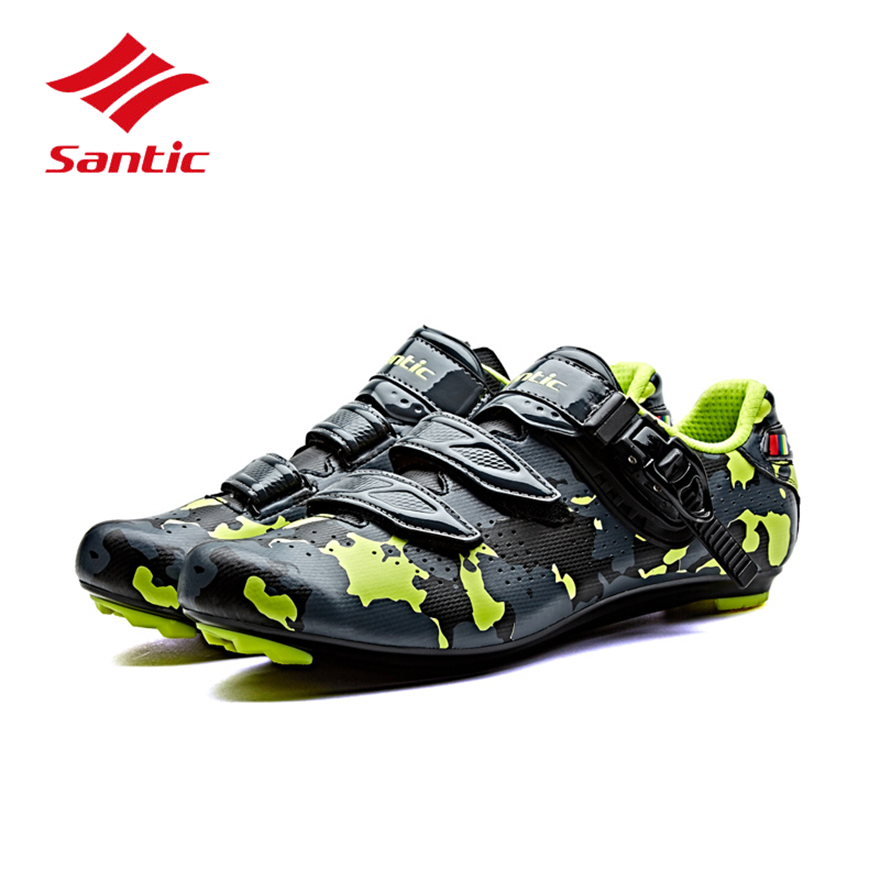 Santic Cycling Shoes Road Men Bike Lock Shoes 2018 Pro Racing PU Self-Locking Bicycle Shoes Athletic Sneakers Sapatilha Ciclismo west biking bike chain wheel 39 53t bicycle crank 170 175mm fit speed 9 mtb road bike cycling bicycle crank