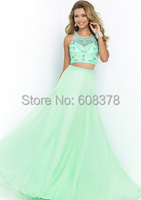 3ee33b1f12fb Sexy Beaded Long Two Piece Prom Dresses 2015 Mint Green 2 Piece Formal  Evening Gowns For Women Off Shoulder Free shiping ZM690