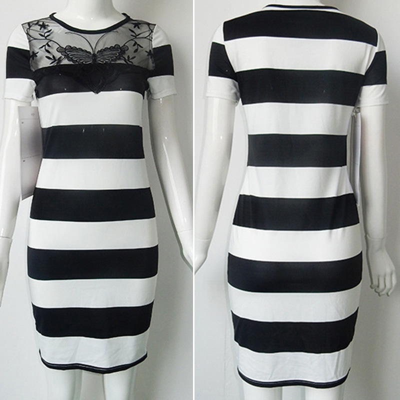 New 2018 Summer dress for Women Casual Slim fit Short Sleeve o neck vintage Striped mid-calf Dress vestidos for night clubwear