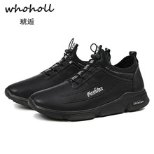 Whoholl Brand New 2018 Men Casual Shoes Leather Summer Breathable Holes Luxury Flat for Drop Shipping Size 39-44