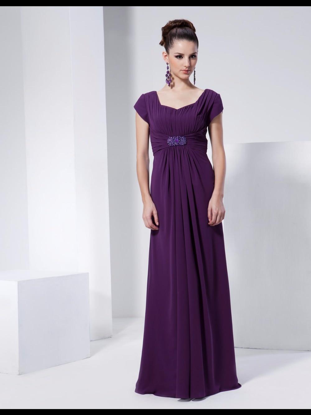 Cap-sleeved A-line Long Chiffon Dress with Pleats