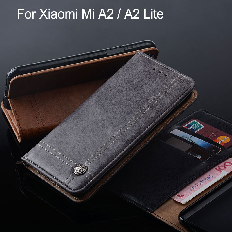 for Xiaomi Mi A2 Lite case Luxury Leather Flip cover with Stand Card Slot Without magnets Case for xiaomi a2 lite funda coque