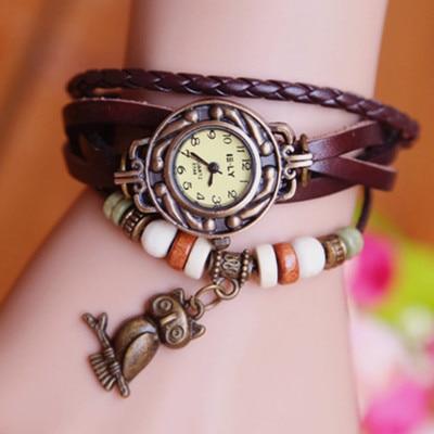 Cow pulseira de couro Casual assista mulheres vestido relógios pingente coruja Vintage Analog de quartzo relógios de pulso Dop envio 58032
