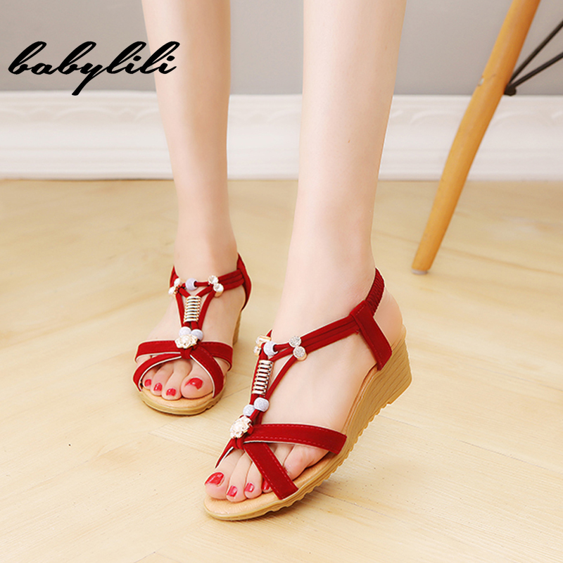 Women Shoes Beaded Flip-Flops Black Sandal Bohemian Fashion Summer Ladies Leisure