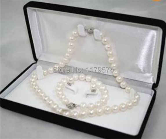 New Fashion Girl 6-7MM White real natural Pearl Necklace Bracelet Earring  H0016