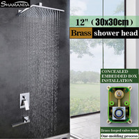 Solid Brass Chrome Concealed Embedded Box Wall Mounted Shower Set With Bathtub Rotatable Spout 8 10