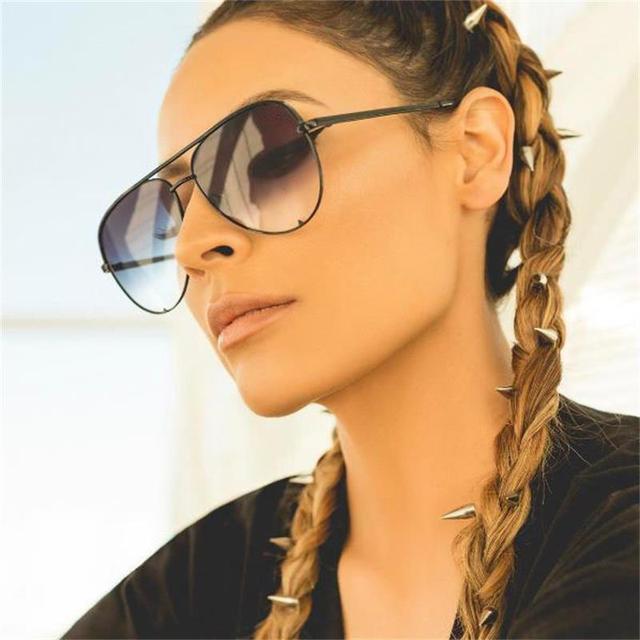 5f1b401bdc05 Модные плоские верхние очки черные градиентные женские солнцезащитные очки  2017 брендовые дизайнерские oculos aviador зеркальные оттенки