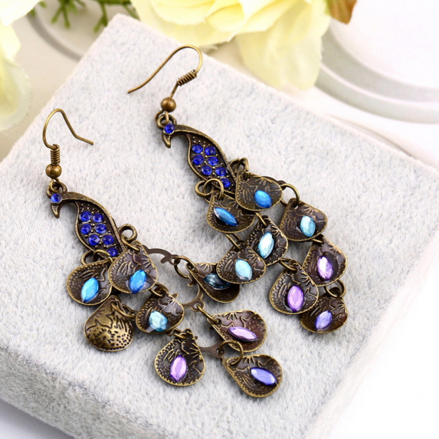 Vintage Retro Blue Peacock Earrings