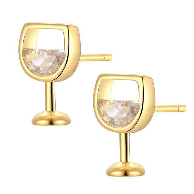 Moda simples brincos femininos oco vidro de vinho cúbico zircônia orelha brincos brincos jóias presentes 1