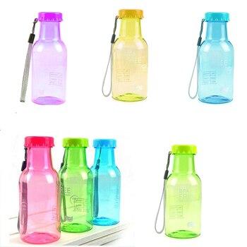 Botellas irrompibles a prueba de agua y fugas de colores dulces, hervidor de agua de plástico de 350 ml, botella de agua portátil para viajes, Yoga, Running, Camping