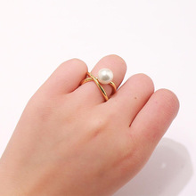 Adjustable Cross Design Pearl Ring for Women Hot Fashion Copper Metal Gold Color Brand Shell Birthday Jewelry