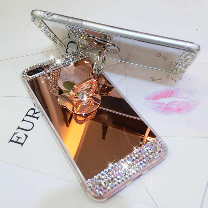 Bling Glitter Diamond Mirror Kickstand Case For iPhone X 10 8 7 6 6S Plus 5 SE 5S Phone Mirror Cover Cases  For iPhone 8 Plus