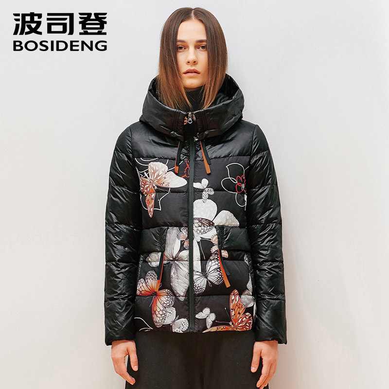 BOSIDENG women's clothing hoodie duck   down     coat   winter jacket outwear floral warm fashion girl high quality B1501204