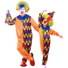 Umorden Halloween Carnival Party Costumes Family Circus Clown Costume Cosplay Plaid Jumpsuit for Adult Kids Children Girl Boy
