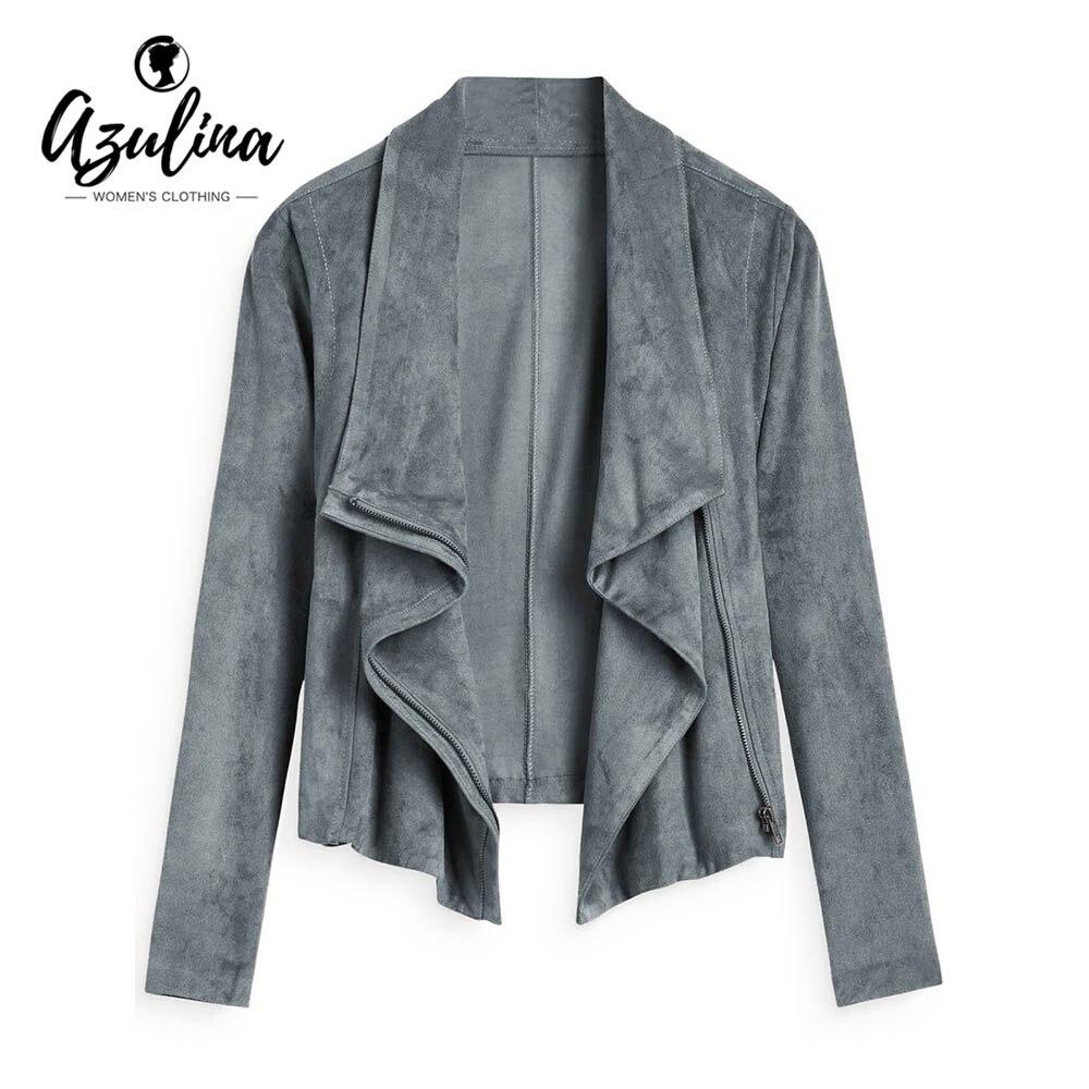 AZULINA Faux Suede Zip Up Cropped Jacket Women