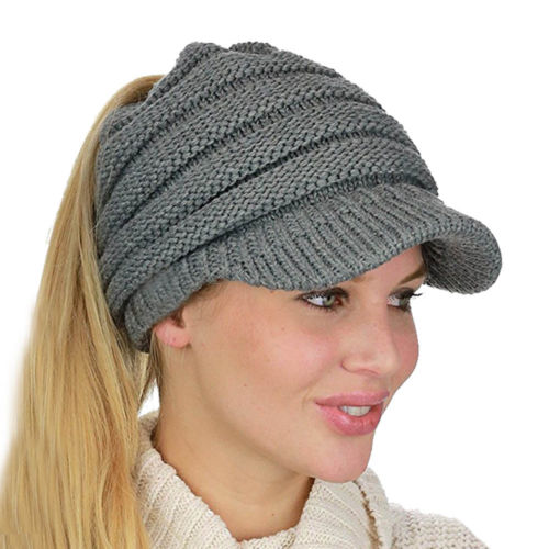 Women s Stretch Knit Hat Baseball Caps Messy Bun Ponytail Beanie Winter  Warm Hole Hat Casual Fashion-in Baseball Caps from Women s Clothing    Accessories on ... 2360f26a8ff