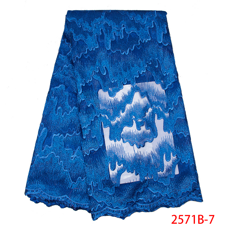 2019 Latest African Lace Fabric Hot Sale Embroidered Nigerian Laces Fabrics French Net Tulle Dress With Sequins KS2571B-7
