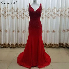 Dubai Red V Neck Crystal Beading Evening Dresses Sleeveless Sexy Luxury Sparkle Evening Gowns Serene Hill LA6581