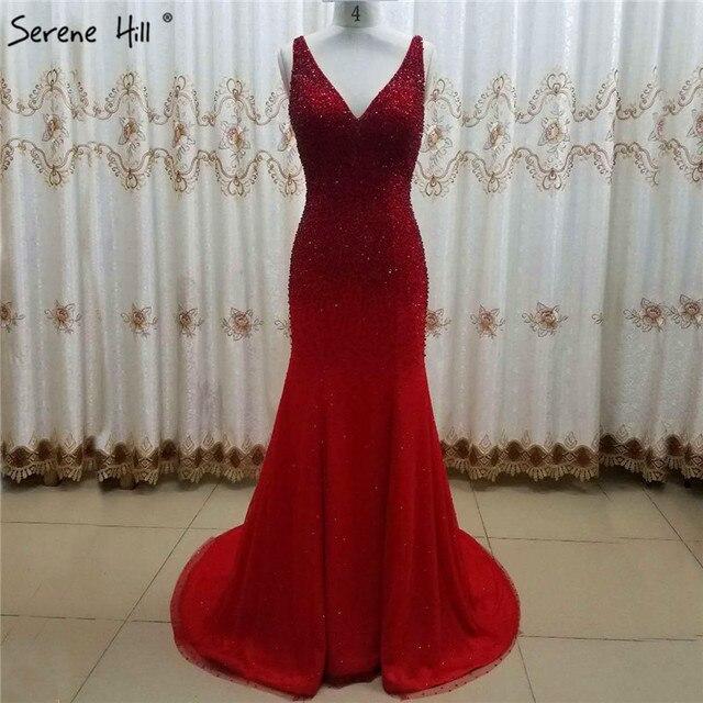 Dubai Rot V ausschnitt Kristall Perlen Abendkleider Ärmellose Sexy Luxus Sparkle Abendkleider Ruhigen Hill LA6581