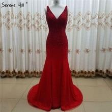 Serenhill robe de soirée rouge rouge, col en v, à perles, Sexy, luxueuse robe longue, sans manches, scintillante, LA6581
