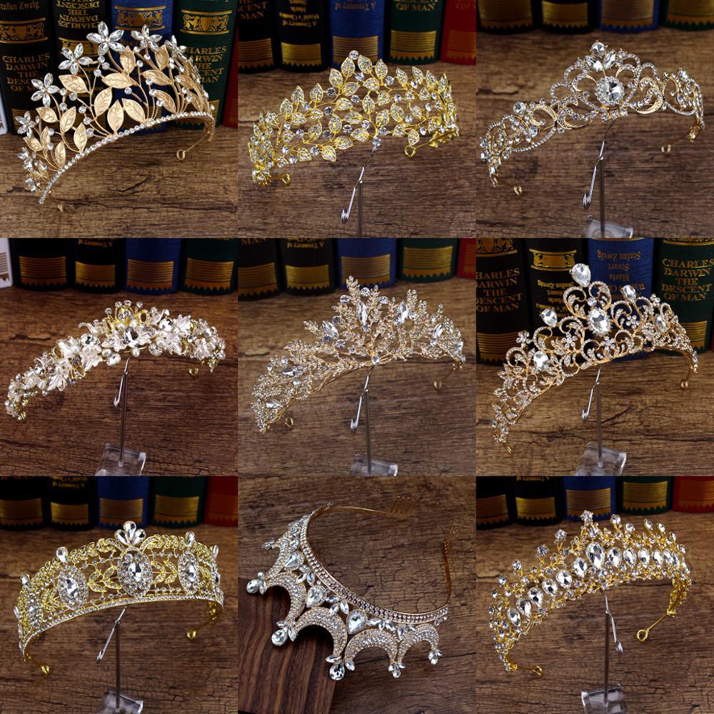 Queen Tiara Hair-Accessories Gold Headband Crystal Bride Wedding Prom-Girls Women Crown