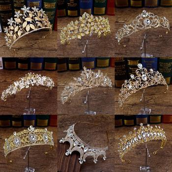 Corona barroca de lujo de cristal para mujer, Vinatge Queen, Tiara nupcial,...