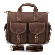 PASTE Hot Selling Genuine Vintage Crazy Horse Leather Laptop Briefcase Bag Hand bags High Quality 7106