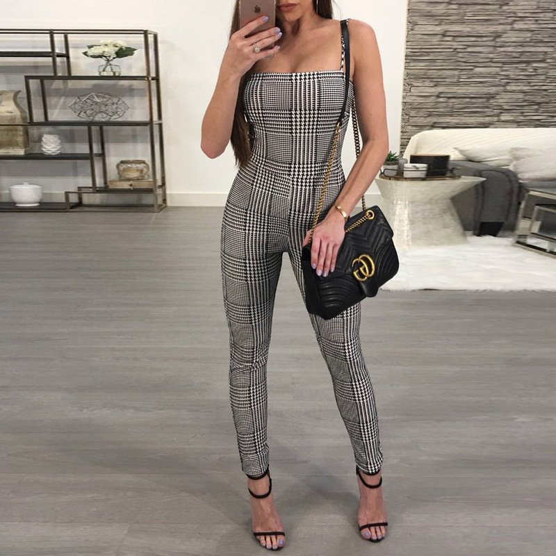 MUXU summer suspenders women body clothes backless long jumpsuit ladies jumpsuits streetwear casual plaid sleeveless jumpsuit