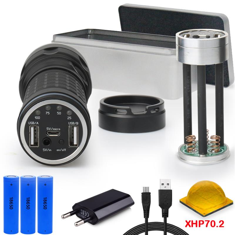 XHP70.2 самый мощный фонарик CREE XHP70.2 дальний охотничий фонарик 18650 usb внешний аккумулятор фонарь Водонепроницаемый фонарь e