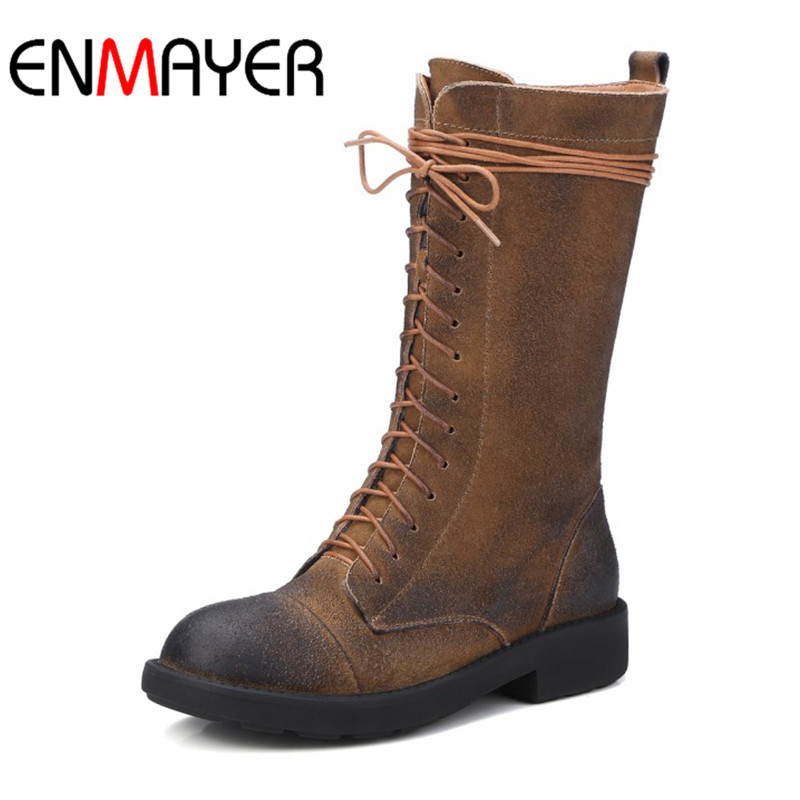 ENMAYER Winter Shoes Flock Women Boots Zippers Lace-up Shoes Mid-calf Round Toe Shoes Black Borwn Flat with Warm Western Boots winter women boots basic fashion round toe comfortable flat shoes female footwear mid calf warm boots popular wholesale dgt674