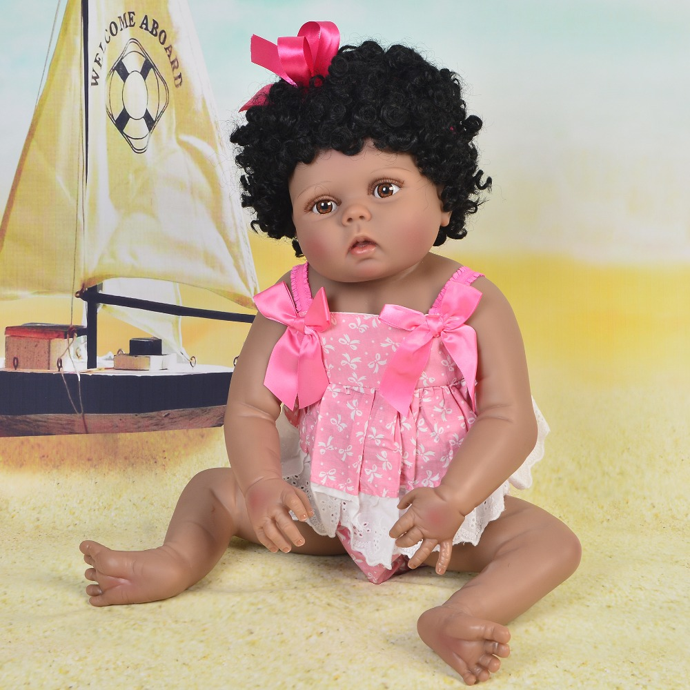 55cm Full Silicone Body Girl Reborn Baby Doll Toys Smooth Black Skin Newborn Princess Babies Fashion Ethnic Dolls Bebe Reborn