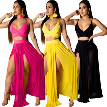 2019 a Generation of Fat Explosion Models European And American Sexy Chiffon Strap Two-Piece Set