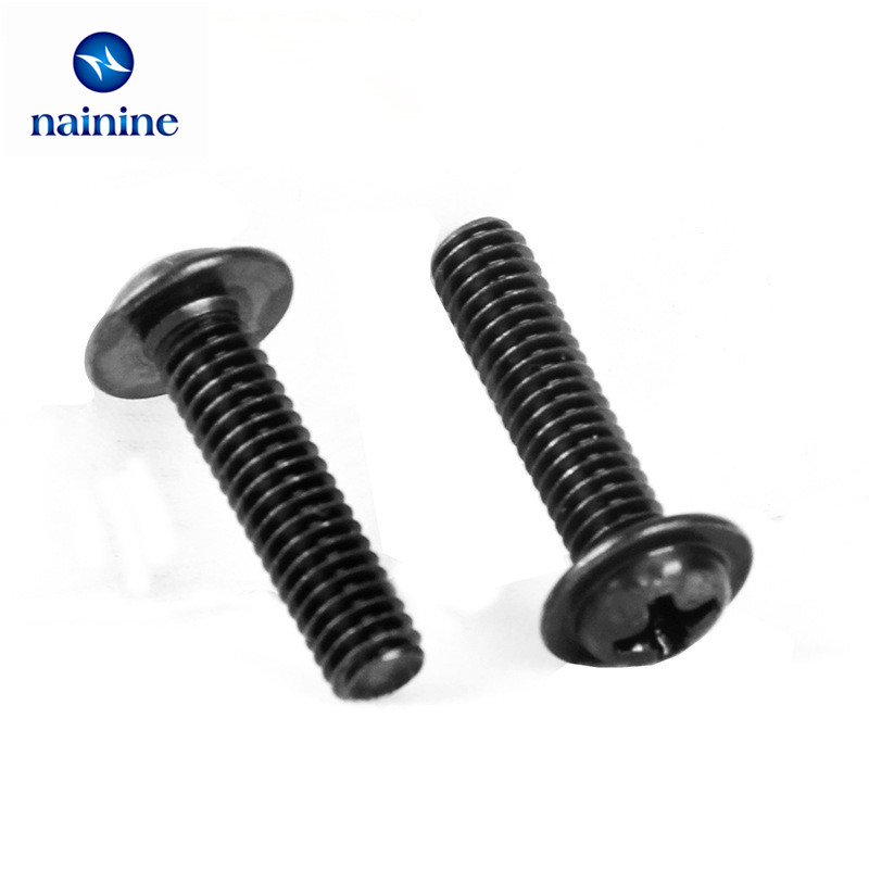 50Pcs M2 M2.5 M3 PWM Black Pan Padded Screws Referral Computer Chassis Fixed Motherboard Screws With Pad SS09 niko 50pcs chrome single coil pickup screws