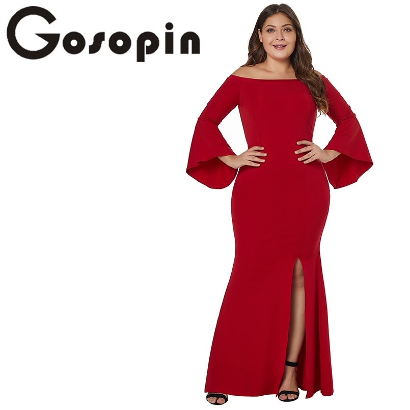 Gosopin Off Shoulder Plus Size Mermaid Dresses Sexy Slash Neck Side Split Party Maxi Party Dress Long Vestido Longo LC610374