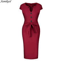 купить Amikast 2019 Womens Elegant Vintage Pinup Retro Rockabilly Button Contrast Belted  Slim Work Office Business Party Bodycon Dress онлайн