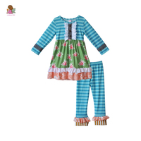 Wholesale Latest Design Fall Girls Boutique Outfits Print Ruffle Dress With Button Blue Striped Cotton Pant Baby Clothes F153