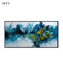 HOT Big sizes Handmade Abstract blue billow wave Wall Art Modern Oil Painting on Canvas Artwork Home Hotel Office Decor Unframe