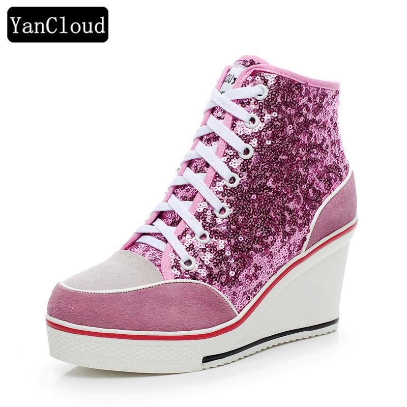 Sepatu Platform Wanita Kulit Asli 2016 Bernapas Lace up 8cm Wedges - Sepatu Wanita - Foto 1