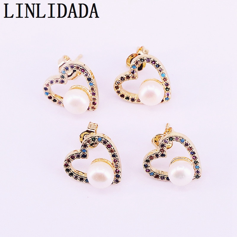 8Pairs 13mm, pearl rainbow cz paved heart stud earring, colorful Studs gorgeous charming Jewelry For Women