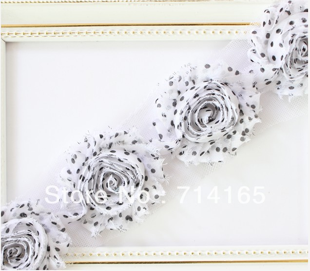 1yard DIY Shabby Flower Chiffon Flower Shabby Rose Trim Hair Flower/headband/shoes(044)