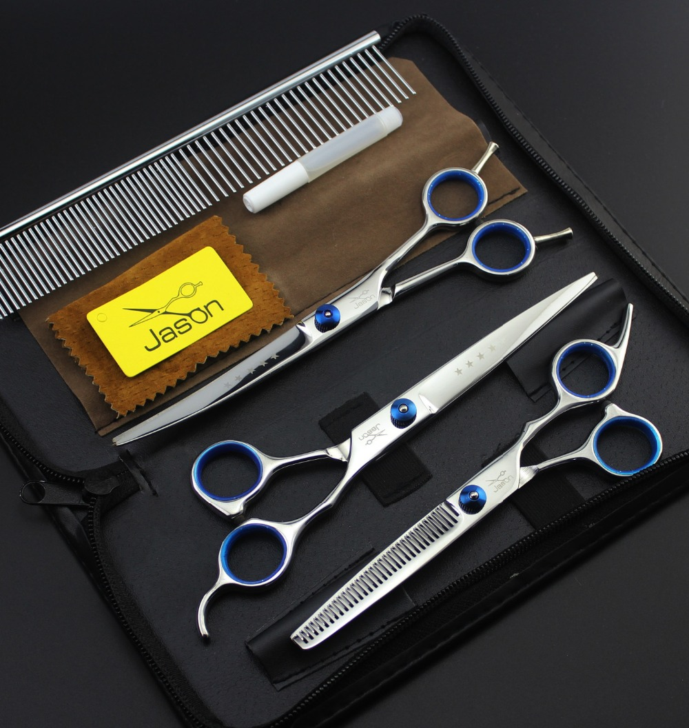 Jason 7 Inch Professional Pet Grooming Scissors Set  Straight & Thinning Curved For Dog