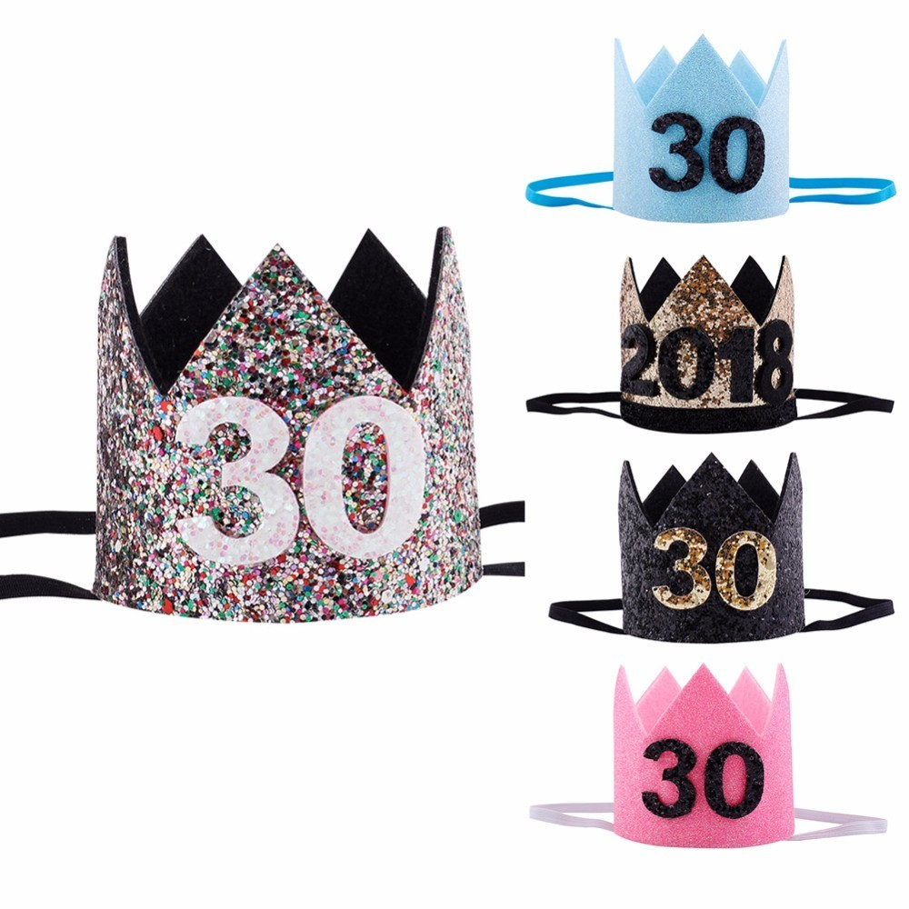2018 30th Birthday Hat Gold Black Pink Princess Crown Number Party Glitter Headband Accessories In Hats