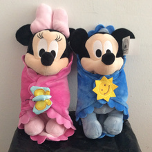 Милый ребенок Микки и Минни Маус с одеялом плюшевые игрушки Микки Маус детские мягкие куклы для детей Подарки