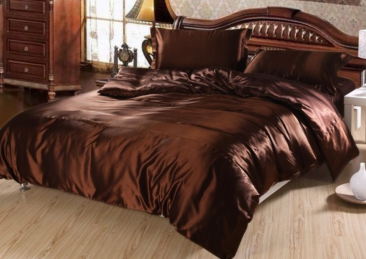7pcs Luxury Brown Silk Bedding Set Satin Sheets Super King