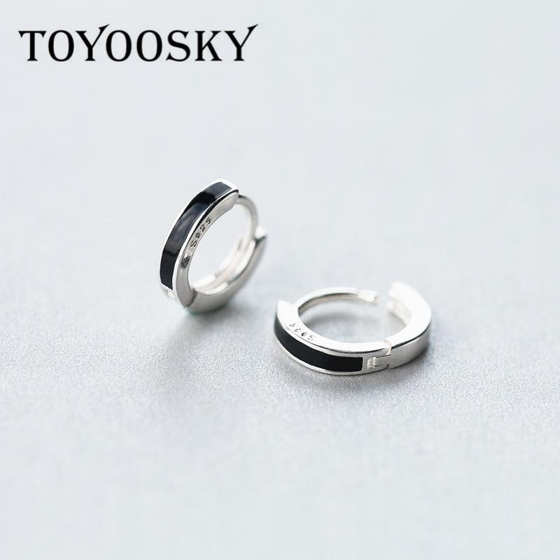 90c97bb05 Real 925 Sterling Silver Black Small Large OL Style Clip Earrings Ear Cuff  Clip On Earrings Jewelry No Piercing For Men Women