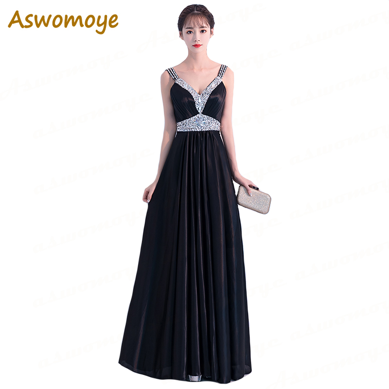 Spirited Aswomoye Elegant Evening Dress 2018 New Solid Color Beading Crystal Party Dress Sexy V-neck Backless Satin Dress Robe De Soiree Consumers First Weddings & Events