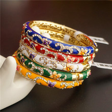 Double thin Small Chinese filigree rhinestone Bangle Cloisonne Enamel Bangles For Women Fashion Ethnic Jewelry Gift